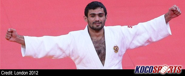 Russian, Arsen Galstyan, win's gold in the men's -60kg competition on the opening day of Judo