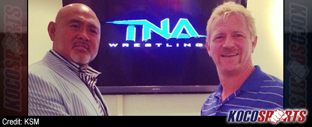 The Great Muta meets with Jeff Jarrett at TNA headquarters