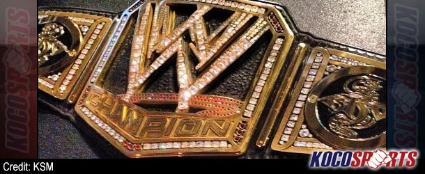 Closer look at Randy Orton's custom WWE championship title with RKO side plates