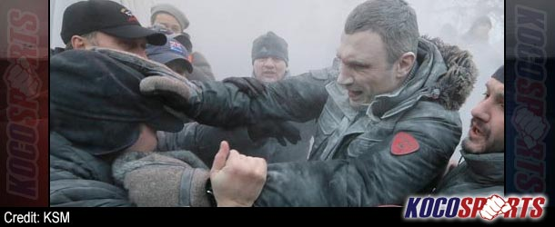 Vitali Klitschko attacked by protesters as he goes on a one-man rampage to stop riots