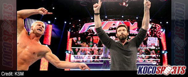 """Video: WWE Raw coverage – 04/28/14 – (Hugh Jackman is confronted by Damien """"Magnito"""" Sandow)"""