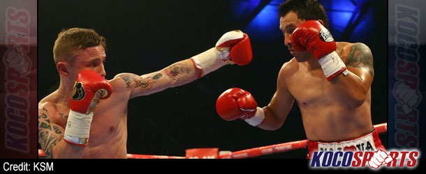Carl Frampton's march toward Santa Cruz rolls on with 2nd round KO of Hugo Cazares in Belfast