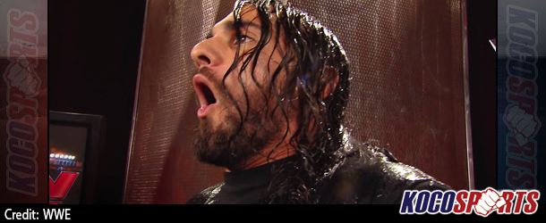 Video: WWE Monday Night Raw coverage – 08/18/14 – (Dean Ambrose empties an ice bucket on Seth Rollins' head)