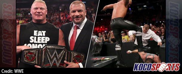"""WWE Monday Night Raw results & footage – 08/18/14 – (Lesnar is crowned; Rollins """"finishes"""" Ambrose at The Authority's command!)"""