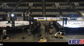 """Preview of Bellator's history making """"Dynamite"""" event setup; Bellator's cage and GLORY's ring side by side"""