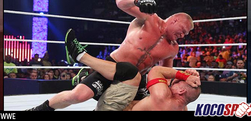 Brock Lesnar retains WWE title over John Cena & Seth Rollins in amazing triple threat match
