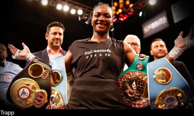 Claressa Shields gets off canvas, beats Hanna Gabriels for the IBF & WBA middleweight titles