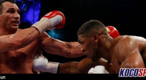 Anthony Joshua beats Wladimir Klitschko in 11th round in front of 90,000 fans in Wembley