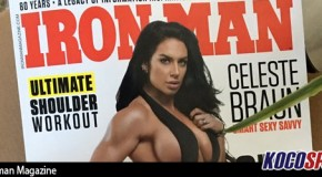 "Former WWE Diva's Champion, Celeste ""Kaitlyn"" Braun, poses for cover of Ironman Magazine"