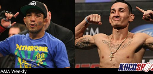 Jose Aldo vs Max Holloway for the undisputed UFC Featherweight title taking place at UFC 212