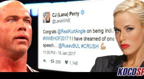 "Lana ""CJ"" Perry congratulates Kurt Angle on WWE Hall of Fame induction; teases a potential showdown with Rusev"