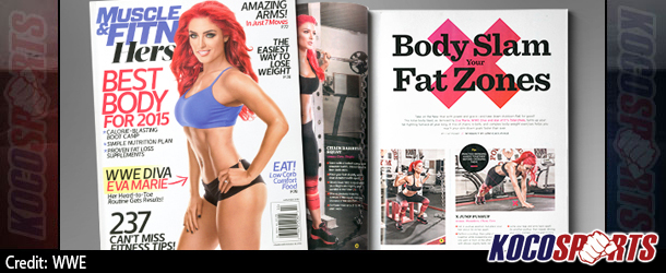 "WWE's Eva Marie featured on the cover of ""Muscle & Fitness Hers"" magazine"