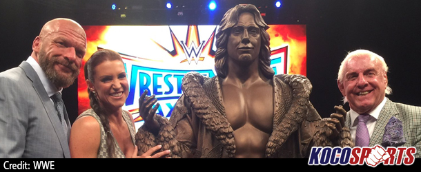 "Video: ""Nature Boy"" Ric Flair immortalized with life size bronze statue at WWE's WrestleMania Axxess"