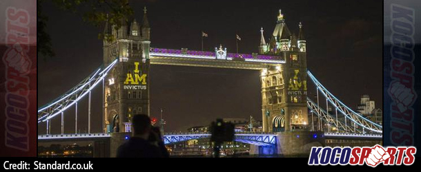 London's Tower Bridge lit up to mark week to go to inaugural Invictus Games