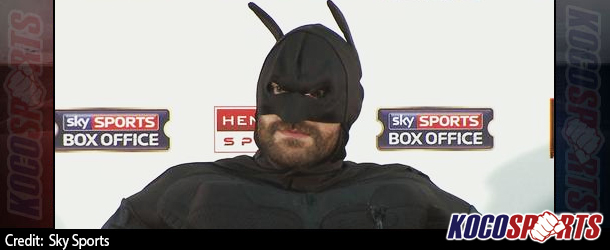 "Tyson Fury shows up at press conference dressed as Batman; takes down ""The Joker"" as Klitschko looks on bewildered"
